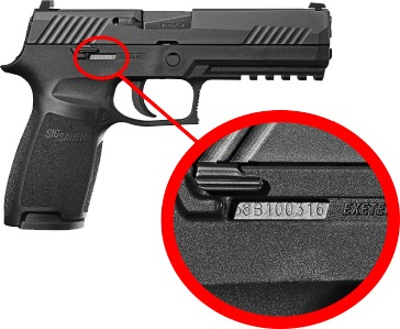The pistol's serial number is stamped on the receiver.